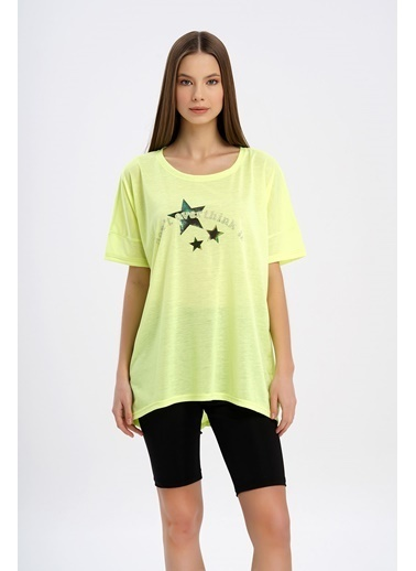 Nismia Hologram Baskılı Taşlı Fosforlu Yarasa Tshirt Sarı
